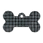 WOVEN1 BLACK MARBLE & ICE CRYSTALS (R) Dog Tag Bone (Two Sides)