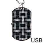WOVEN1 BLACK MARBLE & ICE CRYSTALS (R) Dog Tag USB Flash (One Side)