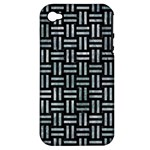 WOVEN1 BLACK MARBLE & ICE CRYSTALS (R) Apple iPhone 4/4S Hardshell Case (PC+Silicone)