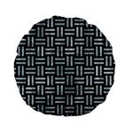 WOVEN1 BLACK MARBLE & ICE CRYSTALS (R) Standard 15  Premium Round Cushions