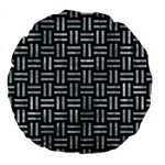 WOVEN1 BLACK MARBLE & ICE CRYSTALS (R) Large 18  Premium Round Cushions