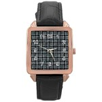 WOVEN1 BLACK MARBLE & ICE CRYSTALS (R) Rose Gold Leather Watch