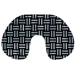 WOVEN1 BLACK MARBLE & ICE CRYSTALS (R) Travel Neck Pillows