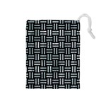 WOVEN1 BLACK MARBLE & ICE CRYSTALS (R) Drawstring Pouches (Medium)
