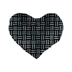 WOVEN1 BLACK MARBLE & ICE CRYSTALS (R) Standard 16  Premium Flano Heart Shape Cushions
