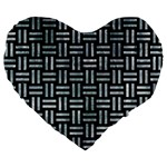 WOVEN1 BLACK MARBLE & ICE CRYSTALS (R) Large 19  Premium Flano Heart Shape Cushions
