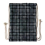 WOVEN1 BLACK MARBLE & ICE CRYSTALS (R) Drawstring Bag (Large)