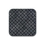 WOVEN2 BLACK MARBLE & ICE CRYSTALS (R) Rubber Square Coaster (4 pack)
