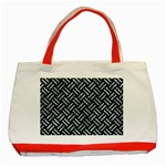 WOVEN2 BLACK MARBLE & ICE CRYSTALS (R) Classic Tote Bag (Red)