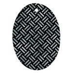 WOVEN2 BLACK MARBLE & ICE CRYSTALS (R) Oval Ornament (Two Sides)