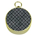 WOVEN2 BLACK MARBLE & ICE CRYSTALS (R) Gold Compasses