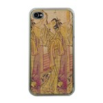 Japanese Geisha with Cat illustration Apple iPhone 4 Case (Clear)