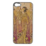 Japanese Geisha with Cat illustration Apple iPhone 5 Case (Silver)