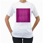 BRICK2 BLACK MARBLE & PINK BRUSHED METAL Women s T-Shirt (White) (Two Sided)