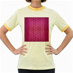 BRICK2 BLACK MARBLE & PINK BRUSHED METAL Women s Fitted Ringer T-Shirts