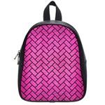 BRICK2 BLACK MARBLE & PINK BRUSHED METAL School Bag (Small)