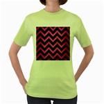 CHEVRON9 BLACK MARBLE & PINK BRUSHED METAL (R) Women s Green T-Shirt