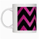 CHEVRON9 BLACK MARBLE & PINK BRUSHED METAL (R) White Mugs