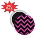 CHEVRON9 BLACK MARBLE & PINK BRUSHED METAL (R) 1.75  Magnets (100 pack)