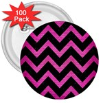 CHEVRON9 BLACK MARBLE & PINK BRUSHED METAL (R) 3  Buttons (100 pack)