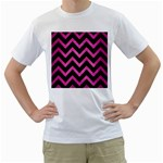 CHEVRON9 BLACK MARBLE & PINK BRUSHED METAL (R) Men s T-Shirt (White) (Two Sided)