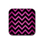 CHEVRON9 BLACK MARBLE & PINK BRUSHED METAL (R) Rubber Square Coaster (4 pack)