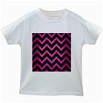 CHEVRON9 BLACK MARBLE & PINK BRUSHED METAL (R) Kids White T-Shirts