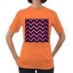 CHEVRON9 BLACK MARBLE & PINK BRUSHED METAL (R) Women s Dark T-Shirt