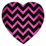 CHEVRON9 BLACK MARBLE & PINK BRUSHED METAL (R) Jigsaw Puzzle (Heart)