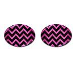 CHEVRON9 BLACK MARBLE & PINK BRUSHED METAL (R) Cufflinks (Oval)