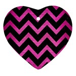 CHEVRON9 BLACK MARBLE & PINK BRUSHED METAL (R) Heart Ornament (Two Sides)