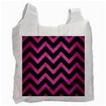 CHEVRON9 BLACK MARBLE & PINK BRUSHED METAL (R) Recycle Bag (Two Side)