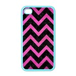 CHEVRON9 BLACK MARBLE & PINK BRUSHED METAL (R) Apple iPhone 4 Case (Color)