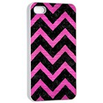 CHEVRON9 BLACK MARBLE & PINK BRUSHED METAL (R) Apple iPhone 4/4s Seamless Case (White)
