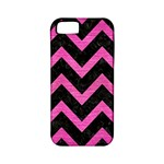 CHEVRON9 BLACK MARBLE & PINK BRUSHED METAL (R) Apple iPhone 5 Classic Hardshell Case (PC+Silicone)