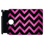 CHEVRON9 BLACK MARBLE & PINK BRUSHED METAL (R) Apple iPad 2 Flip 360 Case
