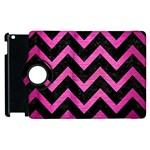 CHEVRON9 BLACK MARBLE & PINK BRUSHED METAL (R) Apple iPad 3/4 Flip 360 Case