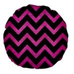 CHEVRON9 BLACK MARBLE & PINK BRUSHED METAL (R) Large 18  Premium Round Cushions