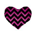 CHEVRON9 BLACK MARBLE & PINK BRUSHED METAL (R) Standard 16  Premium Heart Shape Cushions
