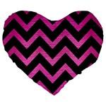 CHEVRON9 BLACK MARBLE & PINK BRUSHED METAL (R) Large 19  Premium Heart Shape Cushions