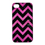 CHEVRON9 BLACK MARBLE & PINK BRUSHED METAL (R) Apple iPhone 4/4S Hardshell Case with Stand