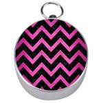 CHEVRON9 BLACK MARBLE & PINK BRUSHED METAL (R) Silver Compasses