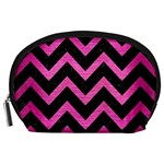 CHEVRON9 BLACK MARBLE & PINK BRUSHED METAL (R) Accessory Pouches (Large)
