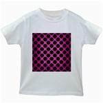 CIRCLES2 BLACK MARBLE & PINK BRUSHED METAL Kids White T-Shirts