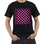 CIRCLES2 BLACK MARBLE & PINK BRUSHED METAL Men s T-Shirt (Black) (Two Sided)