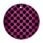 CIRCLES2 BLACK MARBLE & PINK BRUSHED METAL Round Ornament (Two Sides)