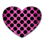 CIRCLES2 BLACK MARBLE & PINK BRUSHED METAL Heart Mousepads