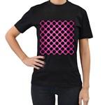 CIRCLES2 BLACK MARBLE & PINK BRUSHED METAL Women s T-Shirt (Black)