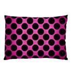 CIRCLES2 BLACK MARBLE & PINK BRUSHED METAL Pillow Case (Two Sides)