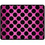 CIRCLES2 BLACK MARBLE & PINK BRUSHED METAL Double Sided Fleece Blanket (Medium)